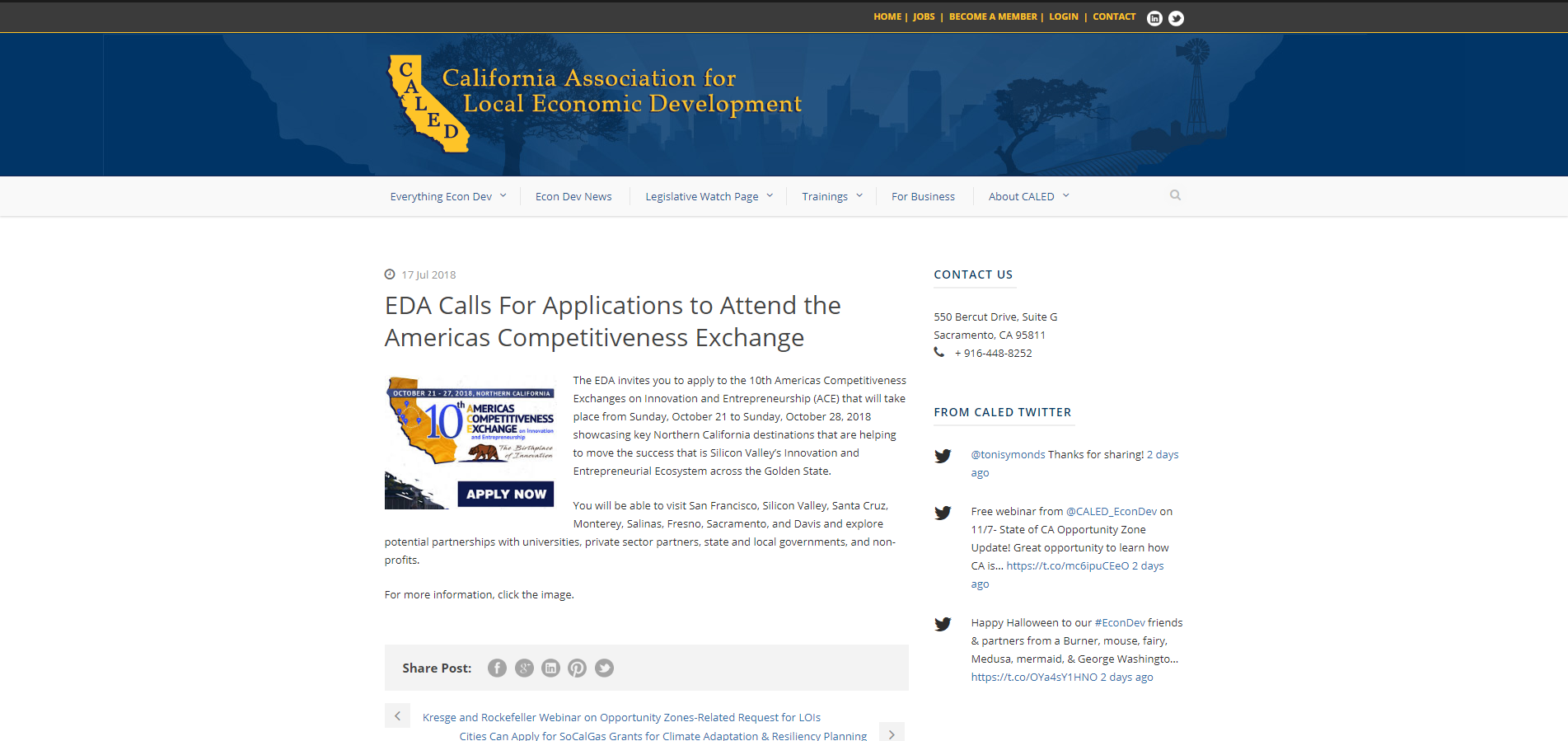 EDA Calls For Applications to Attend the Americas Competitiveness Exchange