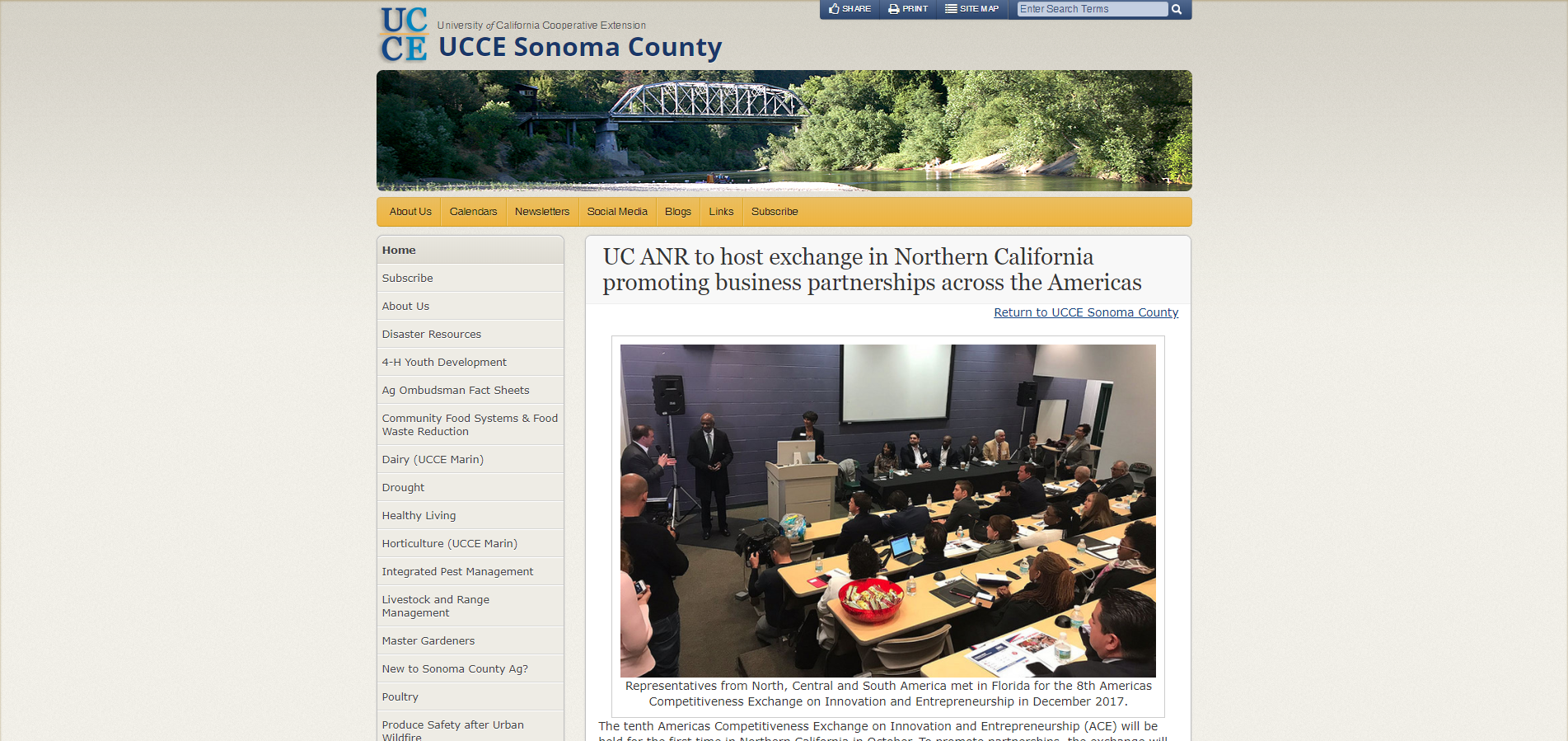 UC ANR to host exchange in Northern California promoting business partnerships across the Americas