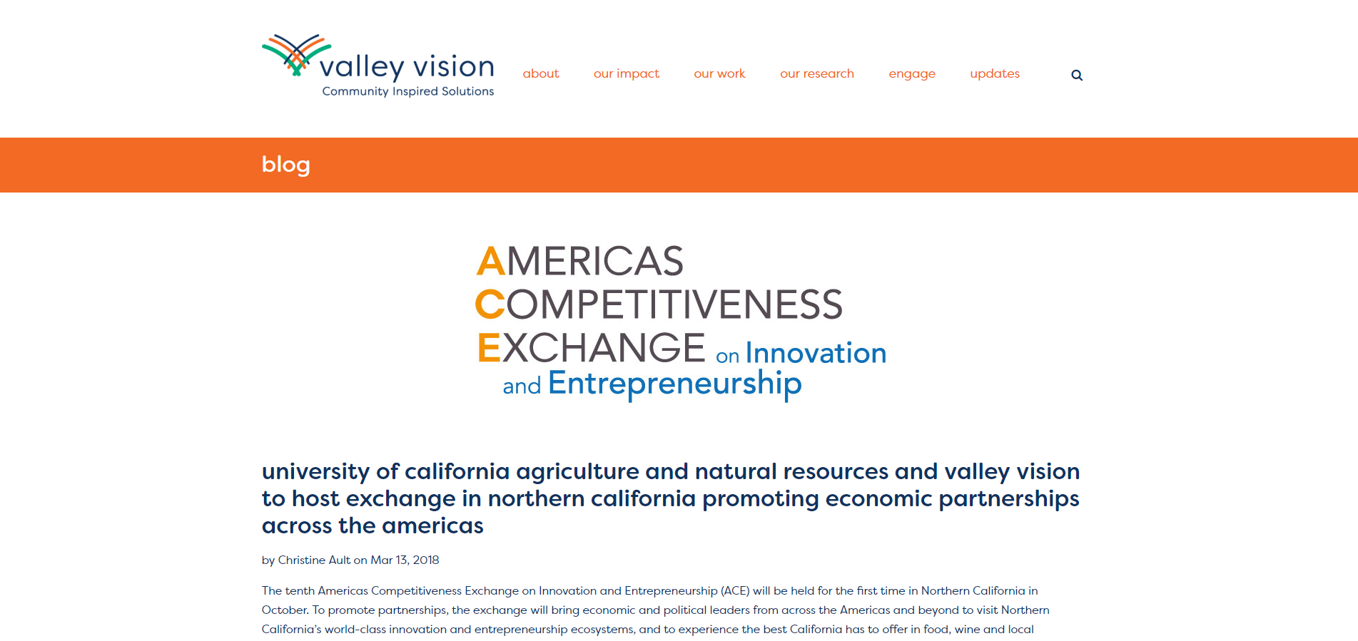 University of California Agriculture and Natural Resources and Valley Vision to host exchange in Northern California promoting economic partnerships across the Americas