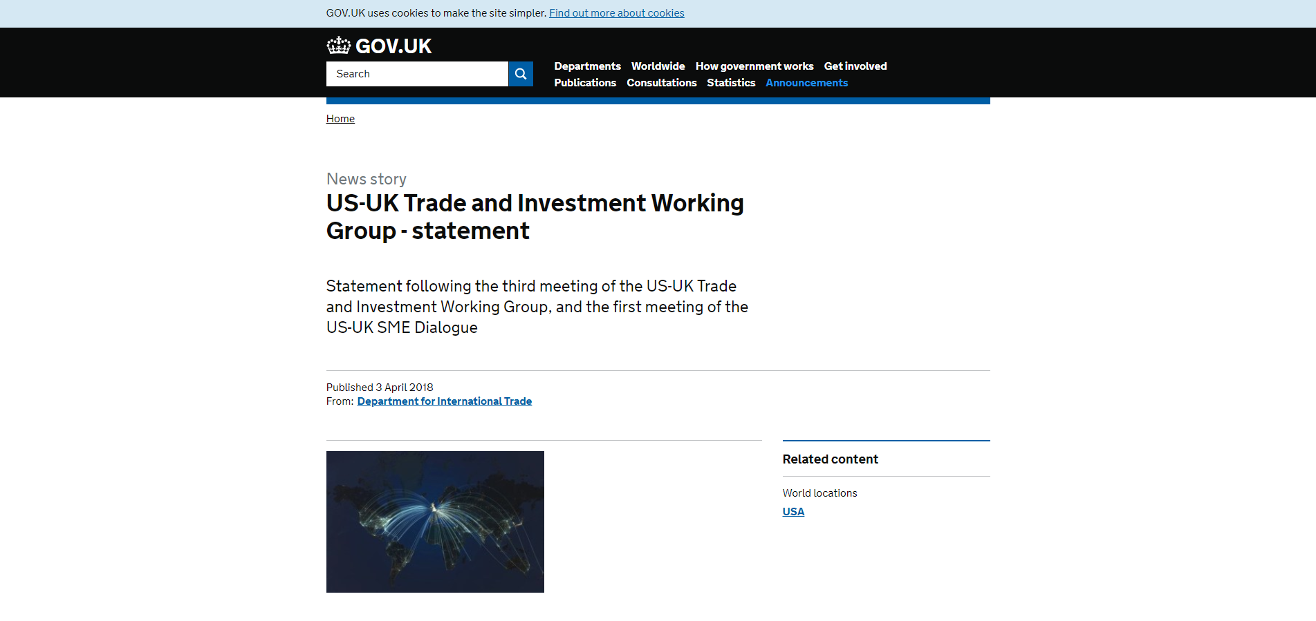 US-UK Trade and Investment Working Group - statement