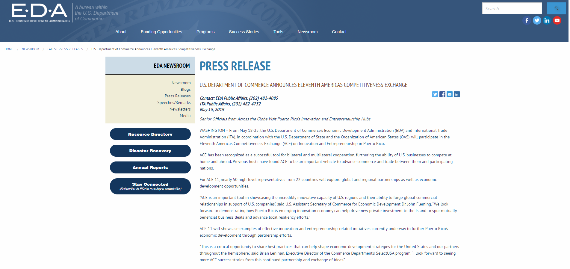 """U.S. Department Of Commerce Announces Eleventh Americas Competitiveness Exchange"", U.S. Department Of Commerce, May 15, 2019,"