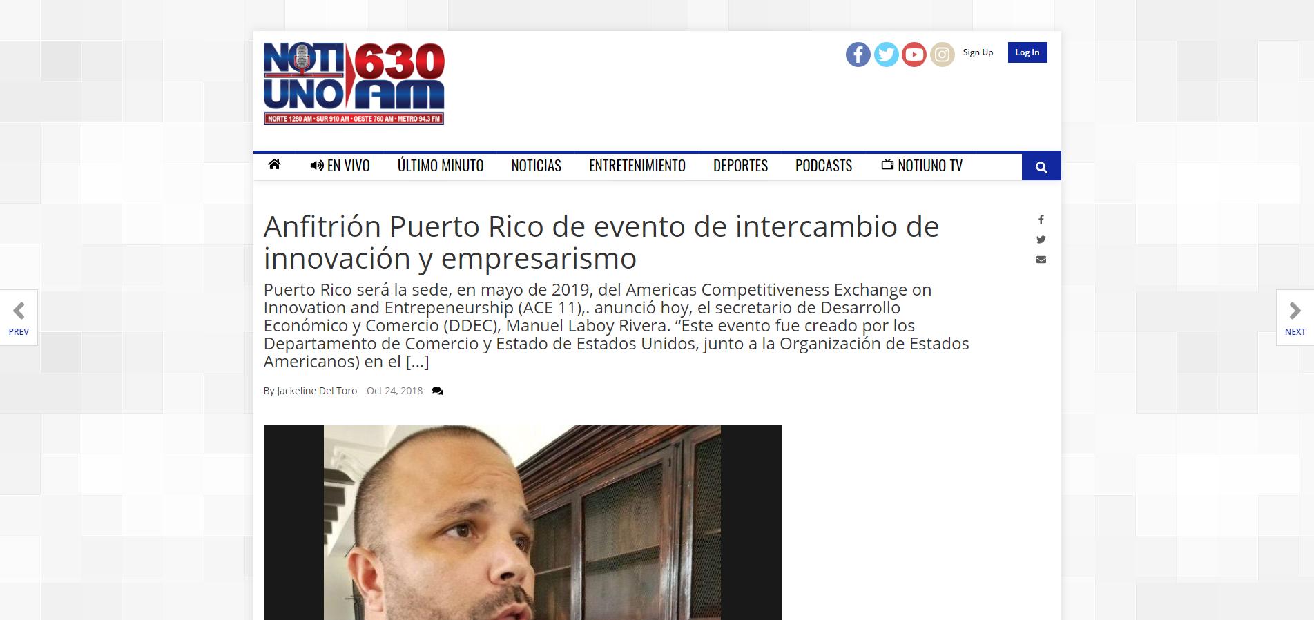 """""""Anfitrión Puerto Rico de Evento de Intercambio de Innovación y Empresarismo"""", Noti Uno, Octubre 24, 2019,"""