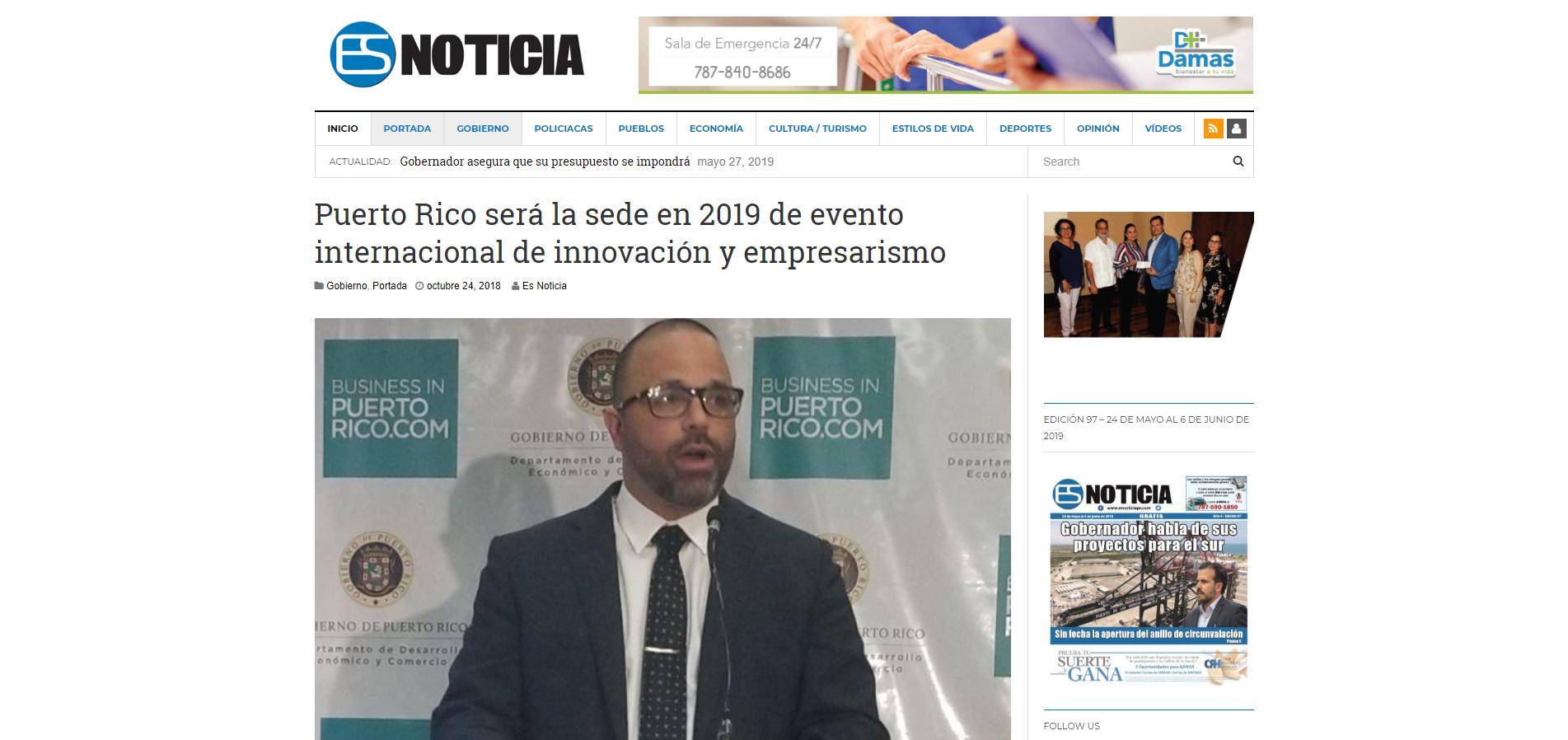 """""""Puerto Rico Será la Sede en 2019 de Evento Internacional de Innovación Y Empresarismo"""", Es Noticia, Octubre 24, 2019,"""