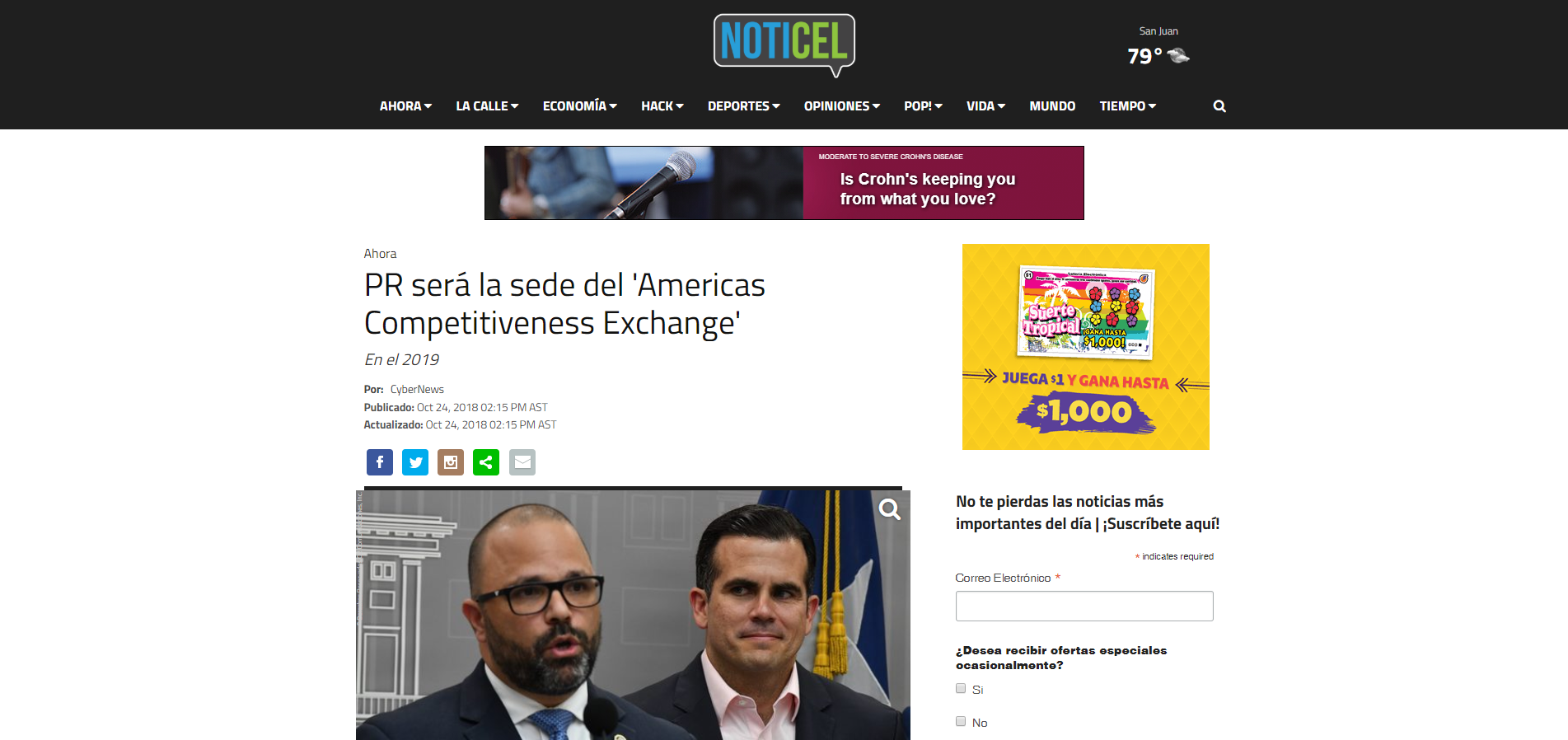 """PR será la sede del 'Americas Competitiveness Exchange'"", Noticel, October 24, 2018,"