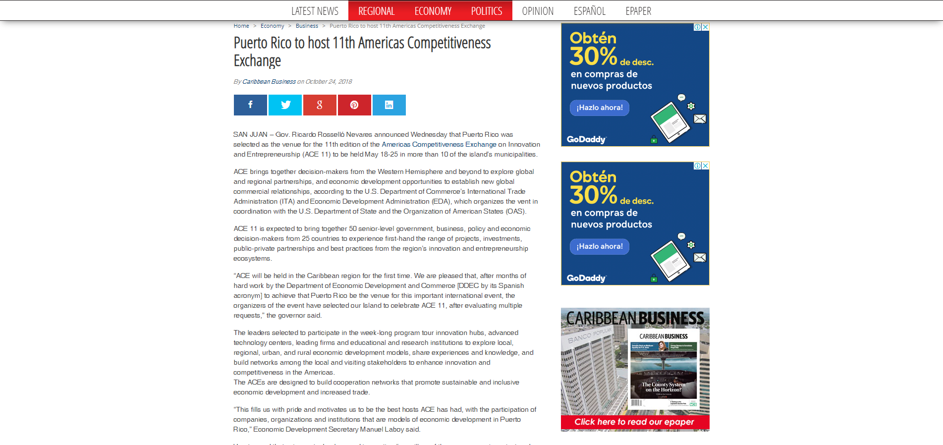 """Puerto Rico to host 11th Americas Competitiveness Exchange"", Caribbean Business, October 24, 2018,"
