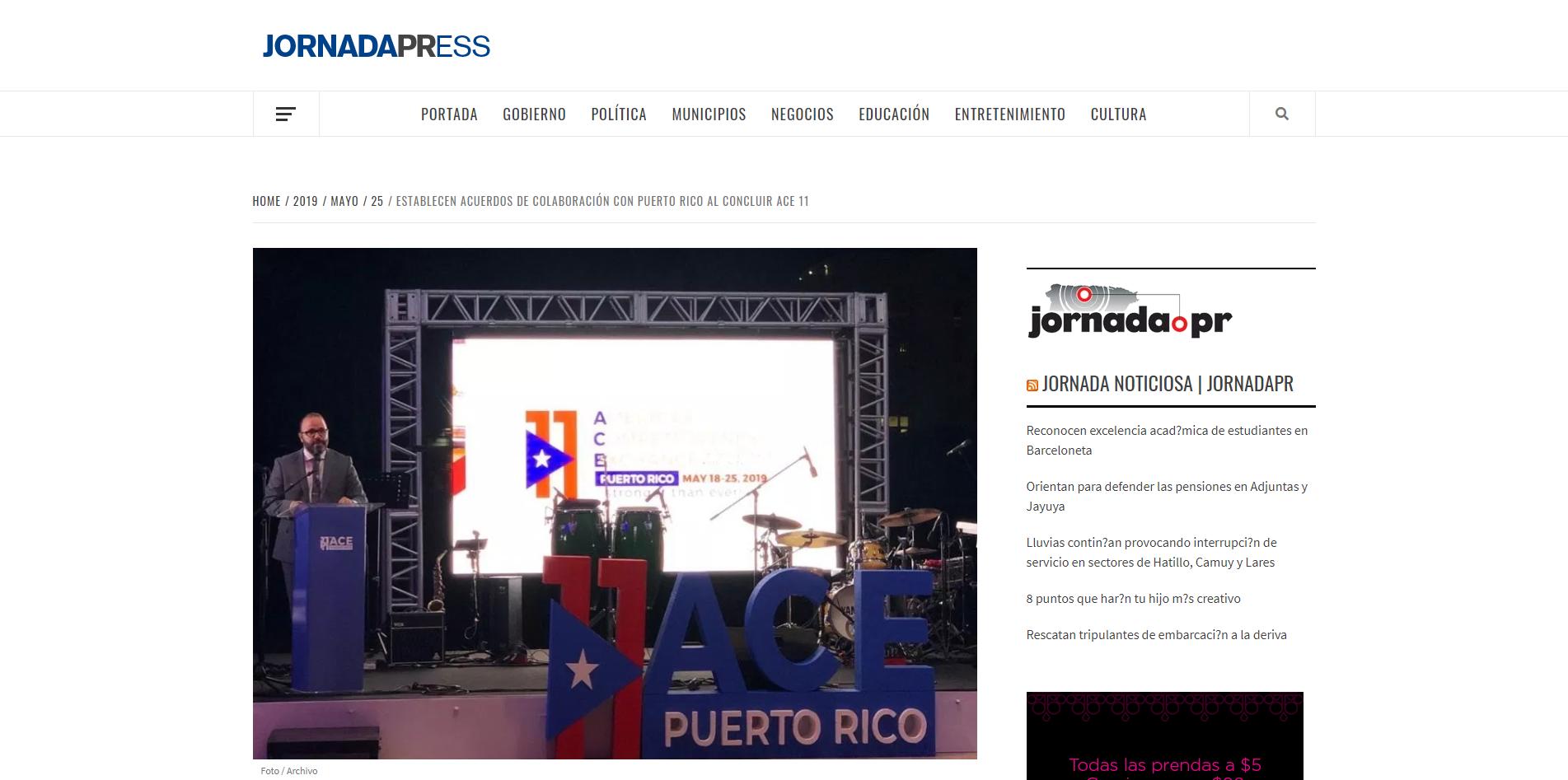 """""""Establecen Acuerdos de Colaboración con Puerto Rico al Concluir ACE 11"""", Jornada Press, May 25, 2019,"""