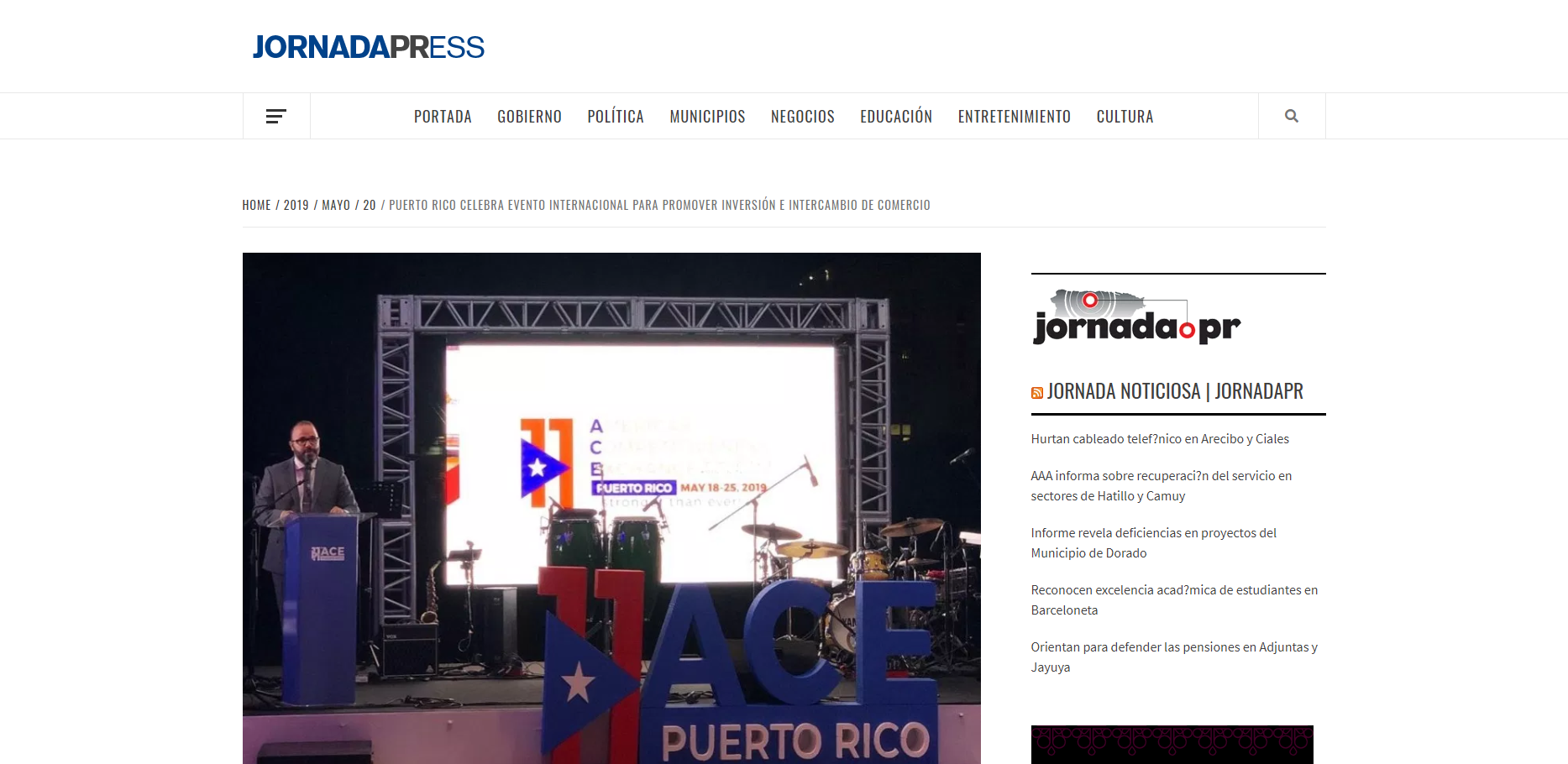 """Puerto Rico celebra evento internacional para promover inversión e intercambio de comercio"", Jornada Press, May 20, 2019"