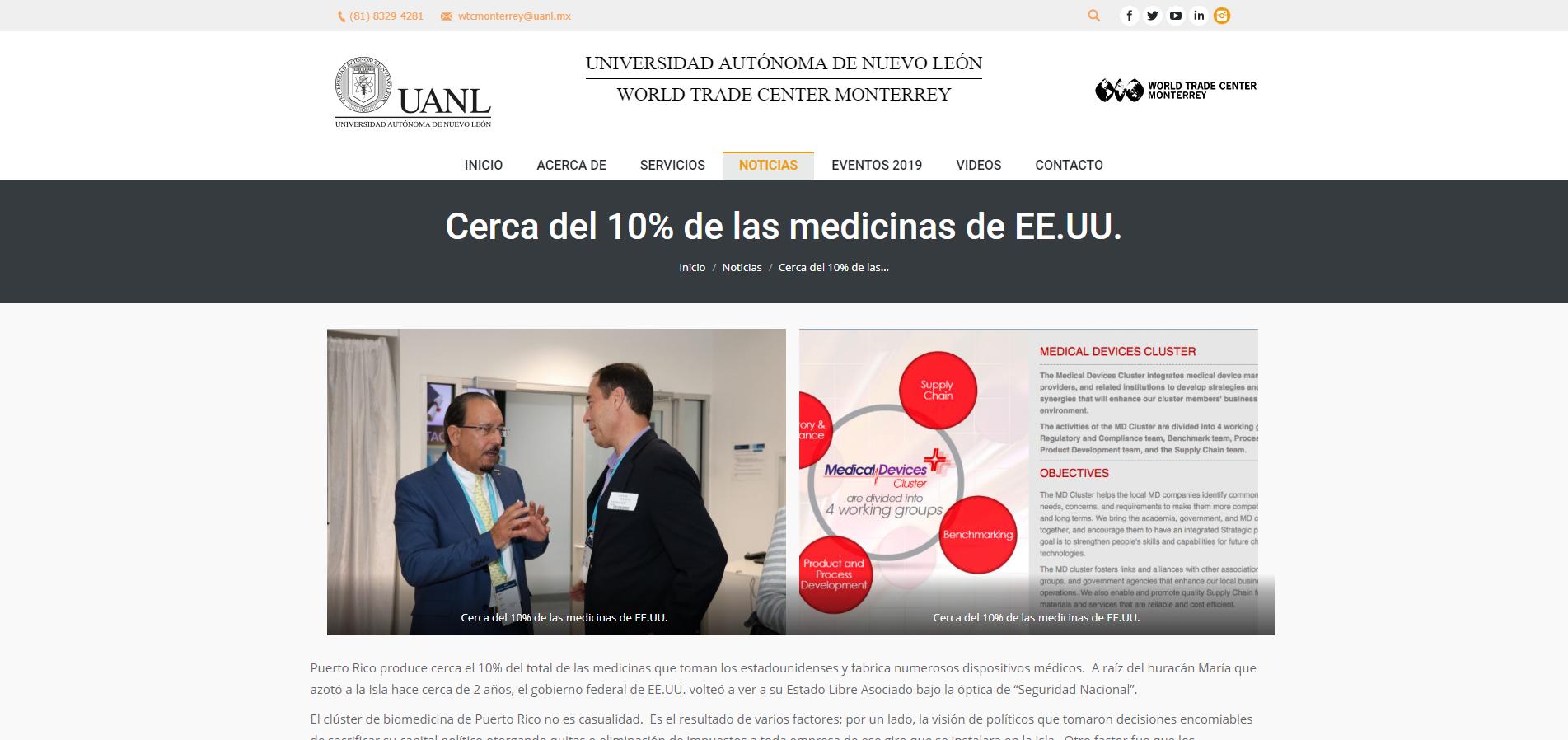 """""""Cerca del 10% de las Medicinas de EE.UU."""", World Trade Center Monterrey de la Universidad Autónoma de Nuevo León"""