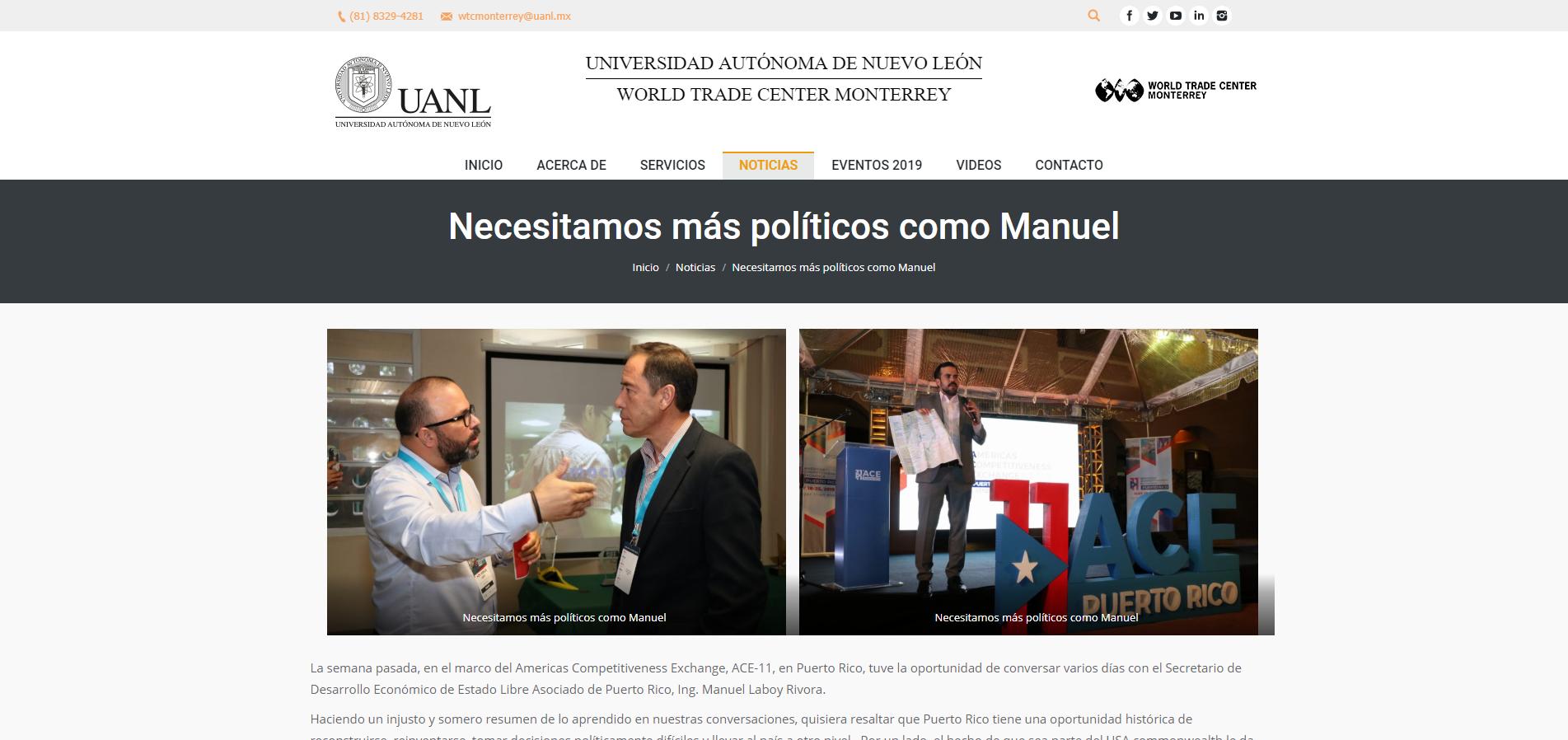 """""""Necesitamos Más Políticos como Manuel"""", World Trade Center Monterrey de la Universidad Autónoma de Nuevo León"""