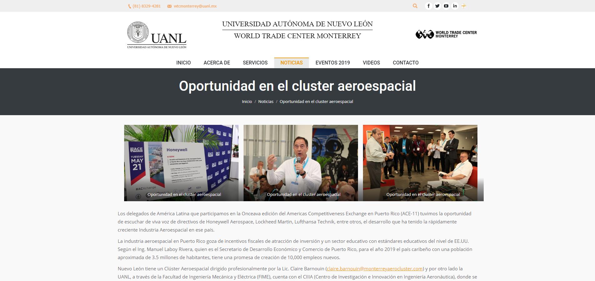 """""""Oportunidad en el Cluster Aeroespacial"""", World Trade Center Monterrey de la Universidad Autónoma de Nuevo León"""