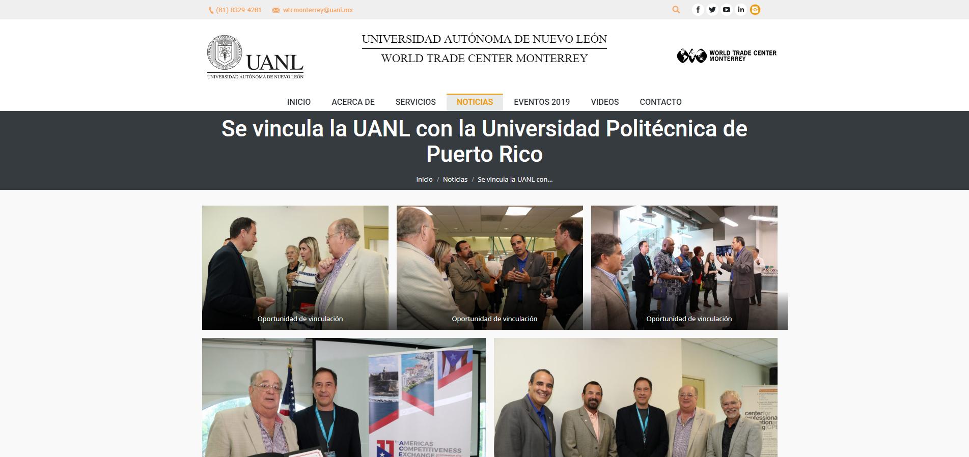 """""""Se Vincula la UANL con la Universidad Politécnica de Puerto Rico"""", World Trade Center Monterrey de la Universidad Autónoma de Nuevo León"""