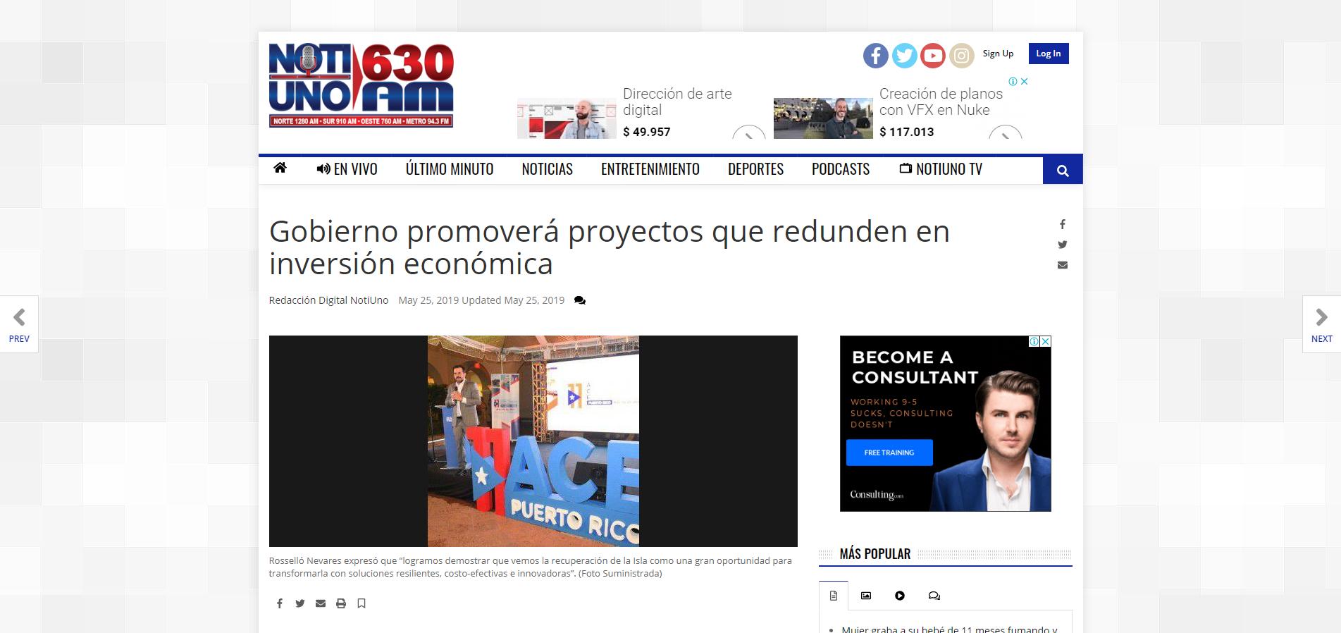 """""""Gobierno Promoverá Proyectos que Redunden en Inversión Económica"""", NotiUno, May 25, 2019"""