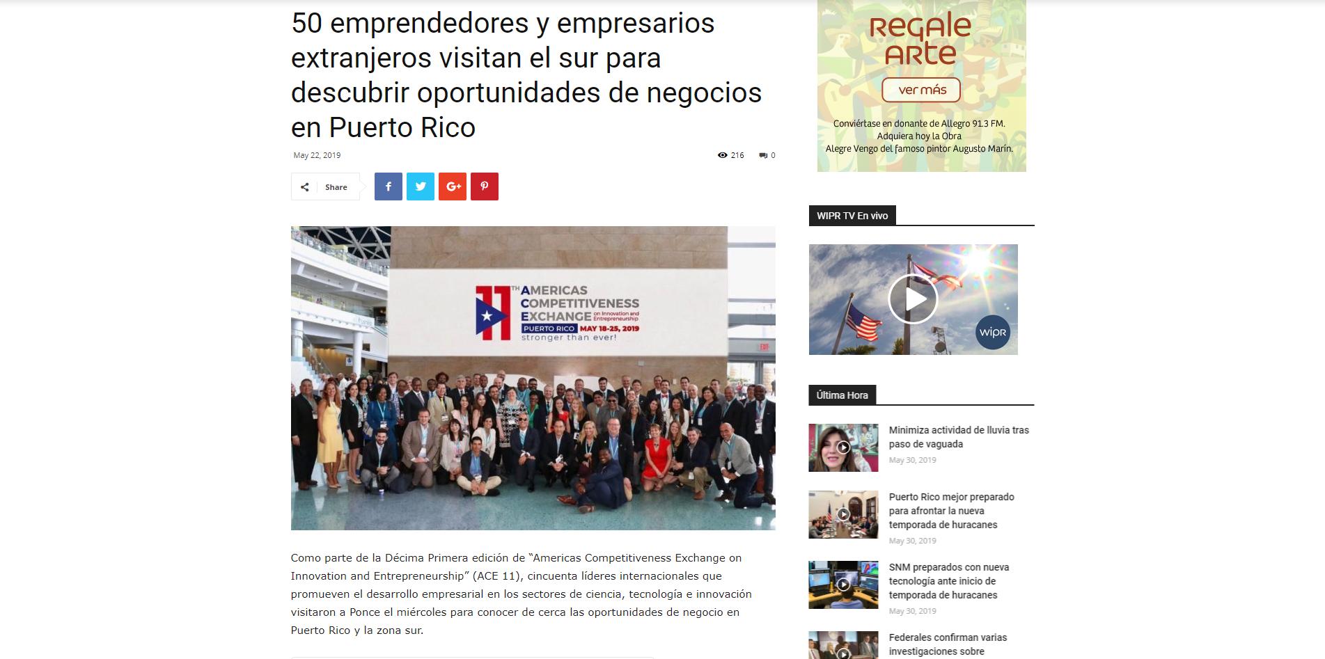 """""""50 Emprendedores y Empresarios Extranjeros Visitan el Sur para Descubrir Oportunidades de Negocios en Puerto Rico"""", Notisies 360, May 22, 2019"""