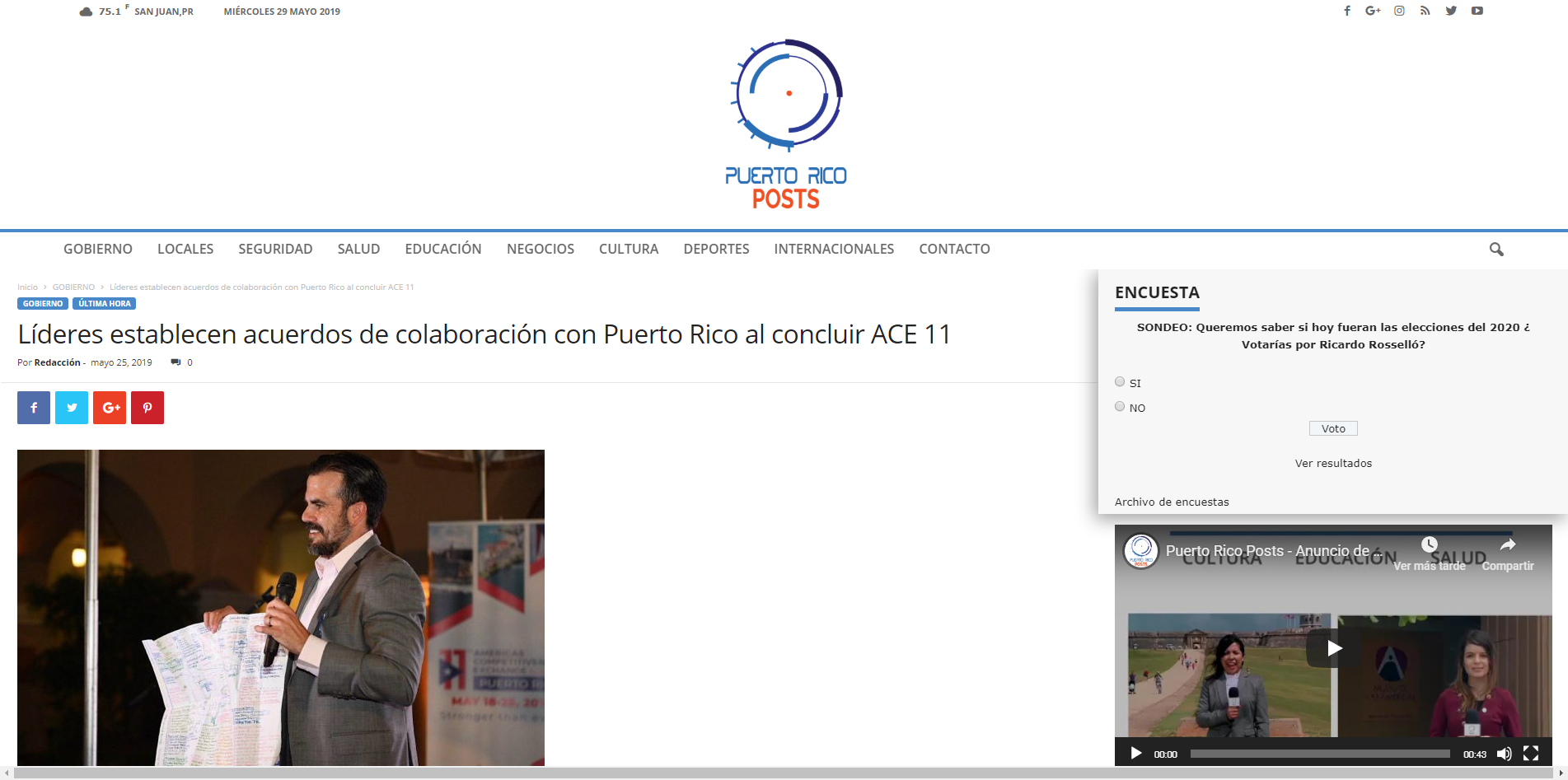 """""""Líderes Establecen Acuerdos de Colaboración con Puerto Rico al Concluir ACE 11"""", Puerto Rico Post, May 25, 2019,"""