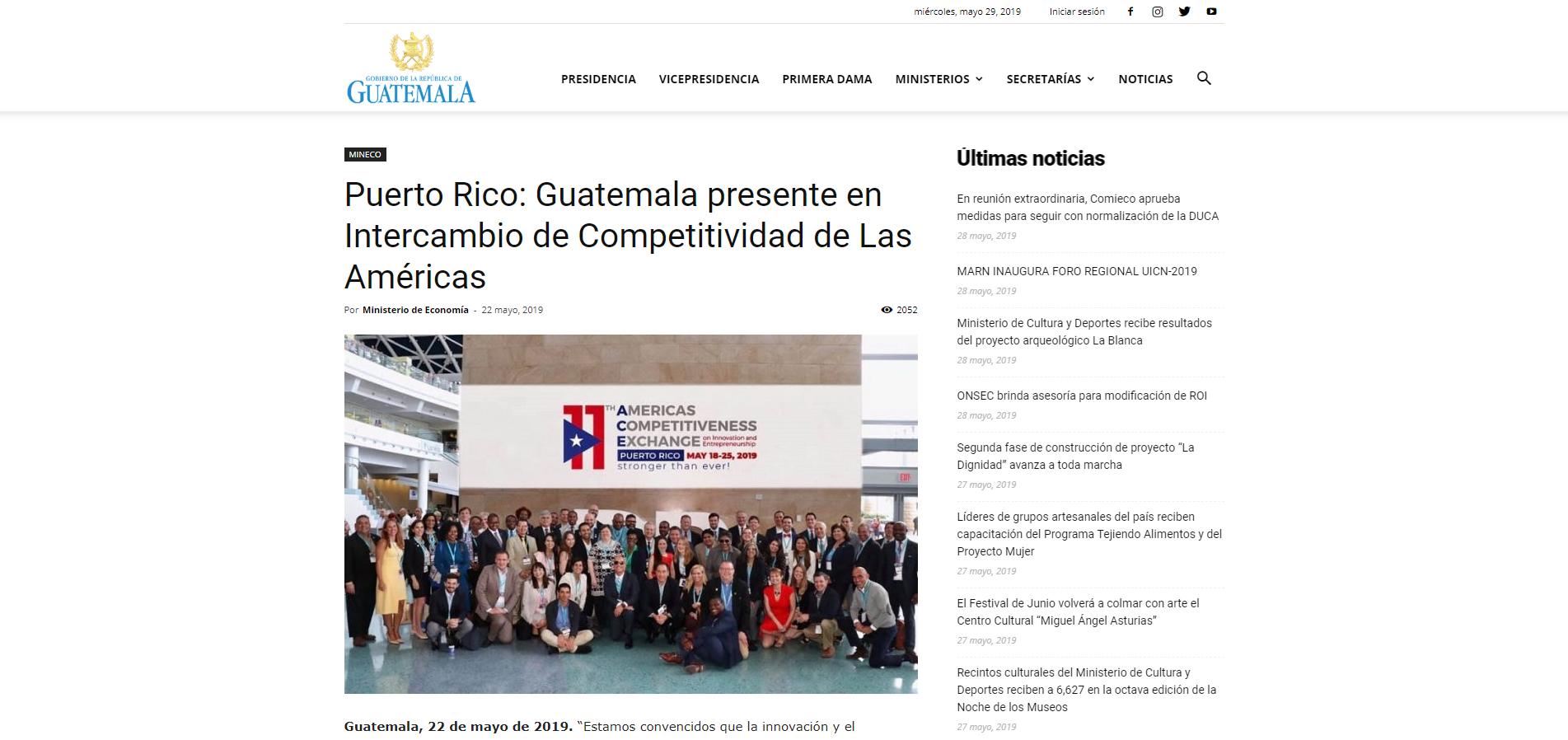 """""""Puerto Rico: Guatemala Presente en Intercambio de Competitividad de las Américas"""", Ministery of Economy, May 22, 219,"""