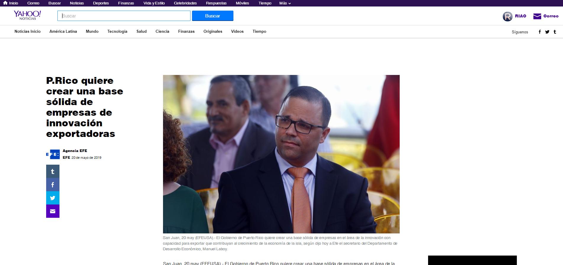 """""""P.Rico Quiere Crear una Base Sólida de Empresas de Innovación Exportadoras"""", Agencia EFE, May 20,2019"""