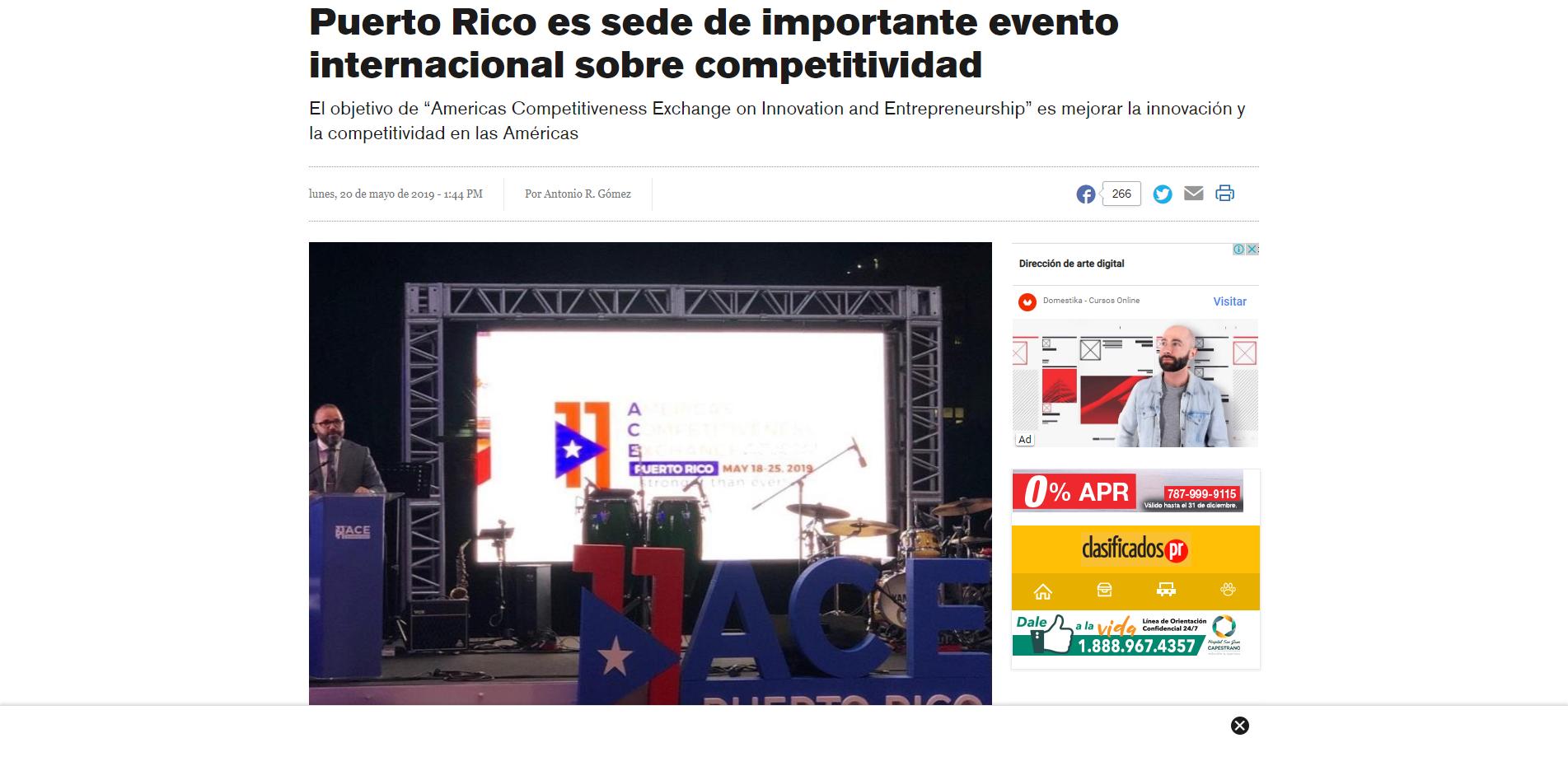 """Puerto Rico es Sede de Importante Evento Internacional Sobre Competitividad"""", El Nuevo Día, May 20, 2019,"""
