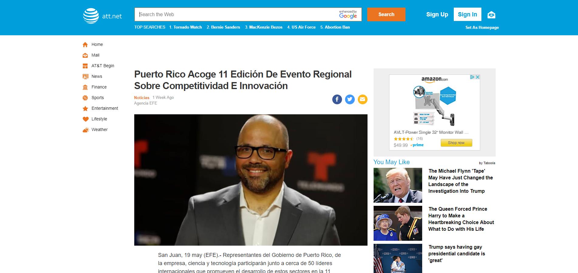 """""""Puerto Rico Acoge 11 Edición de Evento Regional Sobre Competitividad e Innovación"""", Agencia EFE, May 19, 2019,"""
