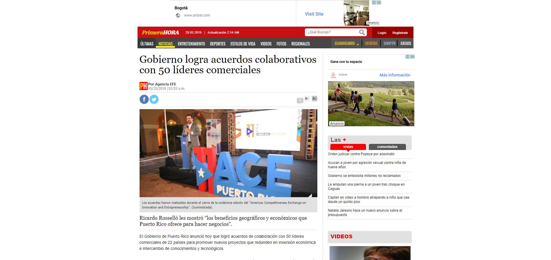 """""""Gobierno Logra Acuerdos Colaborativos con 50 Líderes Comerciales"""", Primera Hora, May 25, 2019,"""