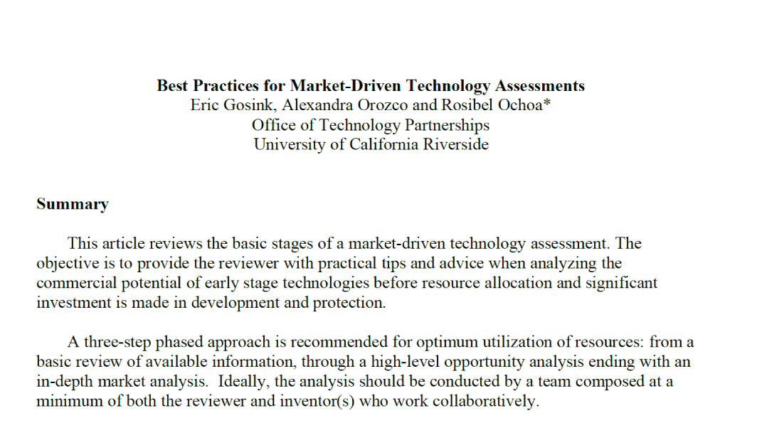 Best Practices for Market-Driven Technology Assessments